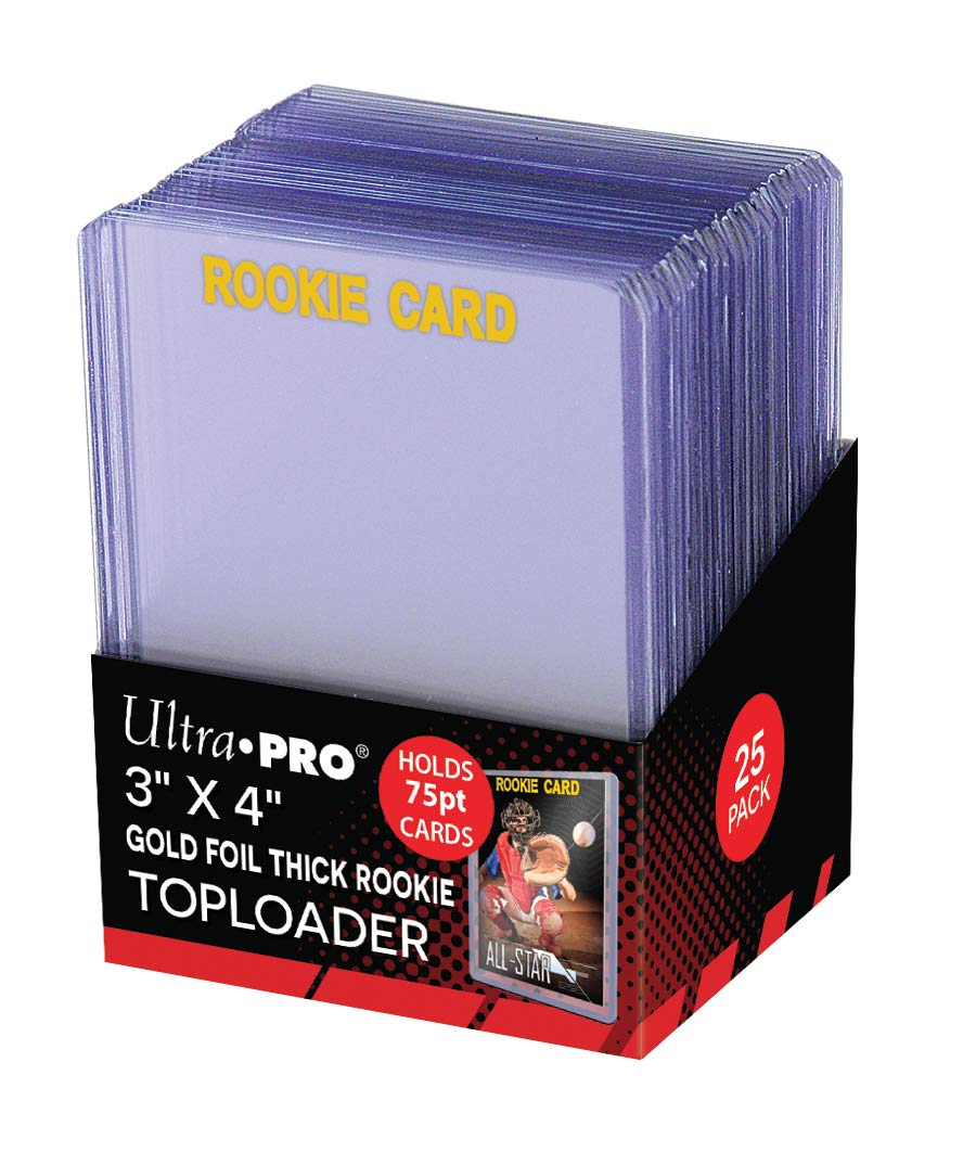 "3"" X 4"" Rookie Gold Thick 75PT Toploader 25ct, Ultra PRO"