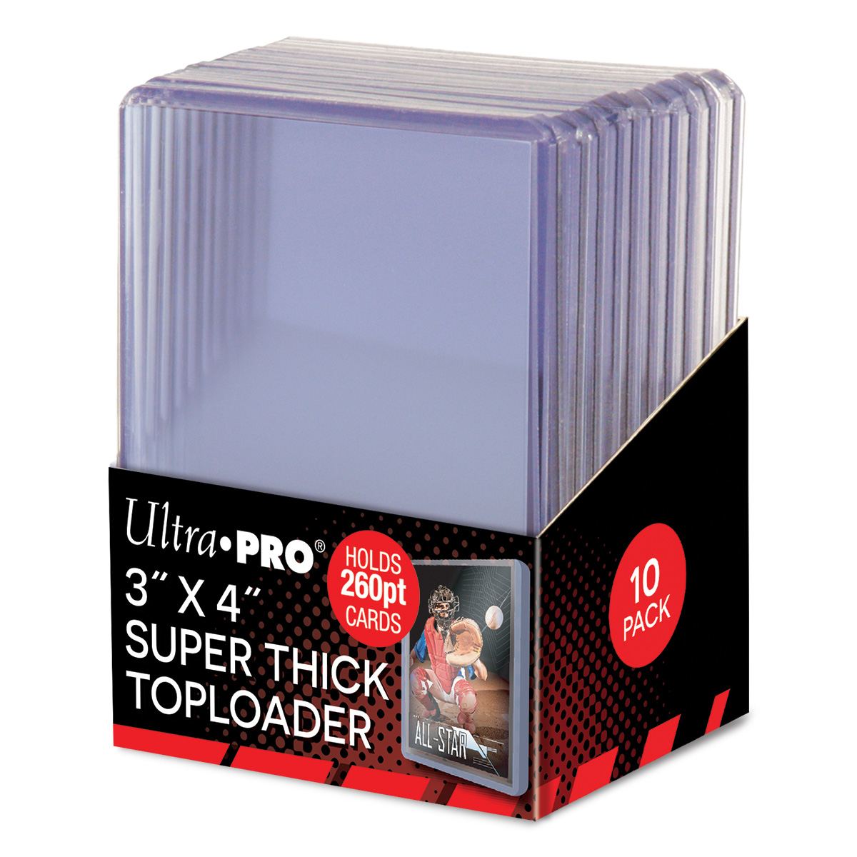 "3"" X 4"" Super Thick 260PT Toploader 10ct, Ultra PRO"
