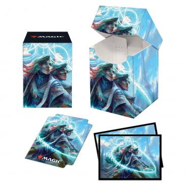 Adrix and Nev, Twincasters, Strixhaven PRO 100+ Deck Box and 100ct sleeves featuring Quandrix for Magic: The Gathering