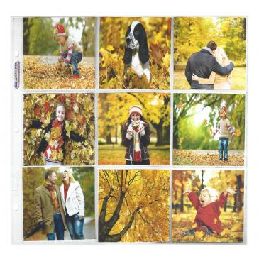 "12"" x 12\"" Size 9-Pocket Page for 4\"" x 4\"" Prints - 10ct Pack"