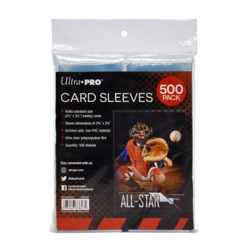 """Clear Card Sleeves for Standard Size Trading Cards - 2.5\"""" x 3.5\"""" (500 count retail pack)"""