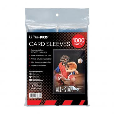 """Clear Card Sleeves for Standard Size Trading Cards - 2.5\"""" x 3.5\"""" (1000 count retail pack)"""