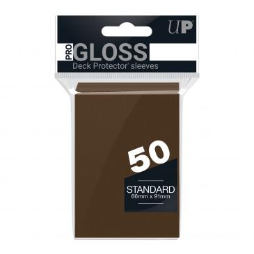 PRO-Gloss 50ct Standard Deck Protector® sleeves: Brown