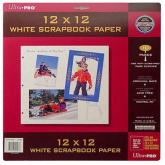 "12"" x 12"" White Scrapbook Paper Pages 10 ct Pack"